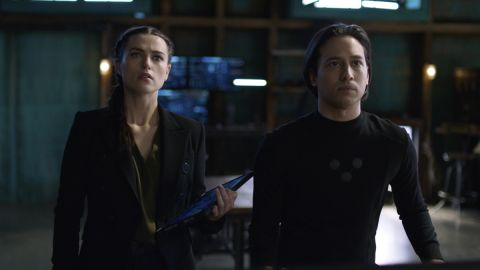 "Katie McGrath and Jesse Rath as Lena Luthor and Brainiac 5 in Supergirl ""Phantom Menaces"""