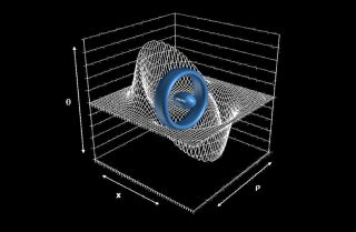 A ring-shaped warp drive device could transport a football-shape starship (center) to effective speeds faster than light.