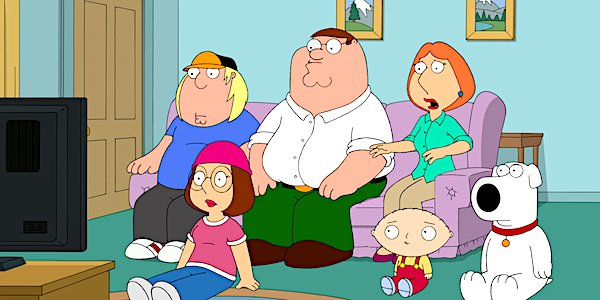 family guy griffins all surprised while watching tv