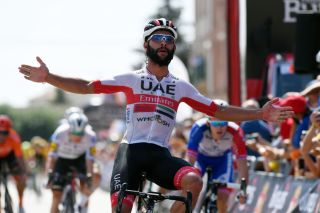 VILLADIEGO SPAIN JULY 29 Arrival Fernando Gaviria Rendon of Colombia and UAE Team Emirates Celebration during the 42nd Vuelta a Burgos 2020 Stage 2 a 168km stage from Castrojeriz to Villadiego VueltaBurgos on July 29 2020 in Villadiego Spain Photo by David RamosGetty Images