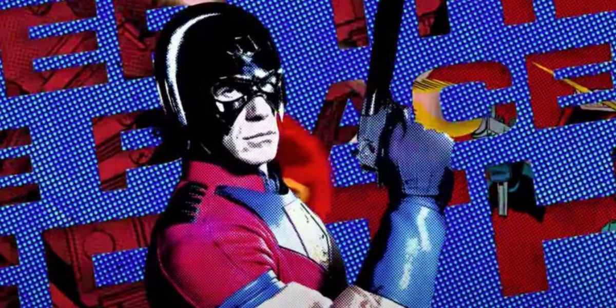 The Suicide Squad John Cena holding his gun as The Peacemaker