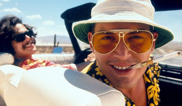Fear and Loathing In Las Vegas Benicio del Toro and Johnny Depp look creepily at the camera