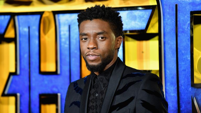 """Chadwick Boseman attends the European Premiere of Marvel Studios' """"Black Panther"""" at the Eventim Apollo, Hammersmith on February 8, 2018 in London"""