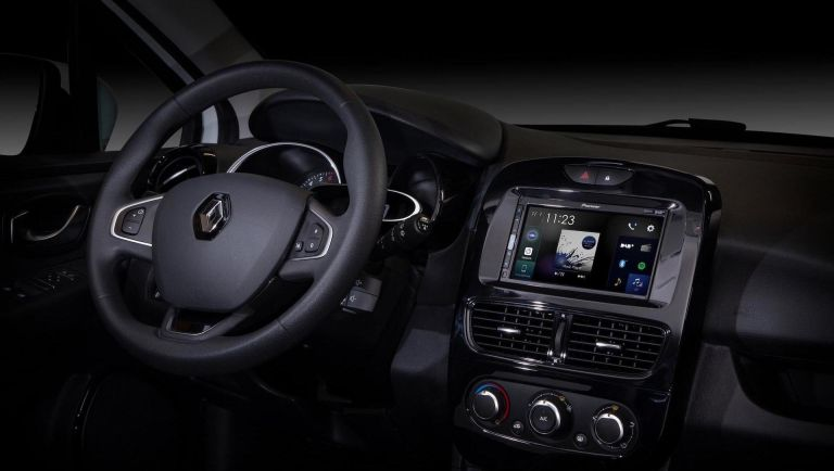A Renault car interior with a Pioneer, one of the best CarPlay stereos, installed in the centre console