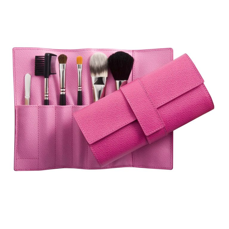 Best make-up brushes-foundation brushes-beauty advice-make-up tips-woman and home- Smythson Make-Up Brush Roll