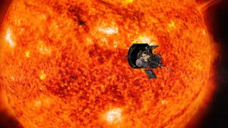 An artist's depiction of the Parker Solar Probe at work around the sun.