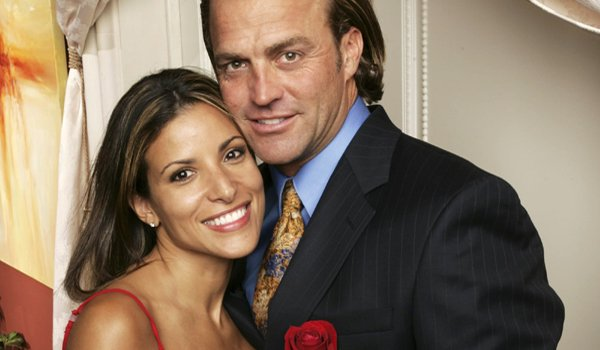 The Bachelor Mary and Byron smiling rose ABC
