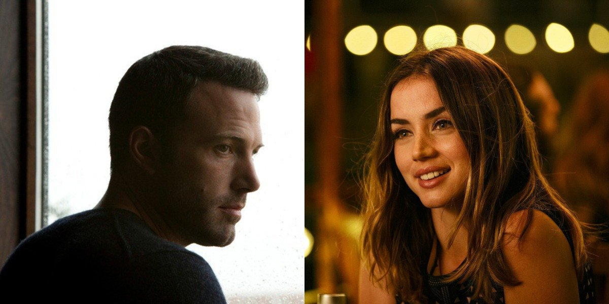 Side-by-side promotional images of Ben Affleck and Ana De Armas