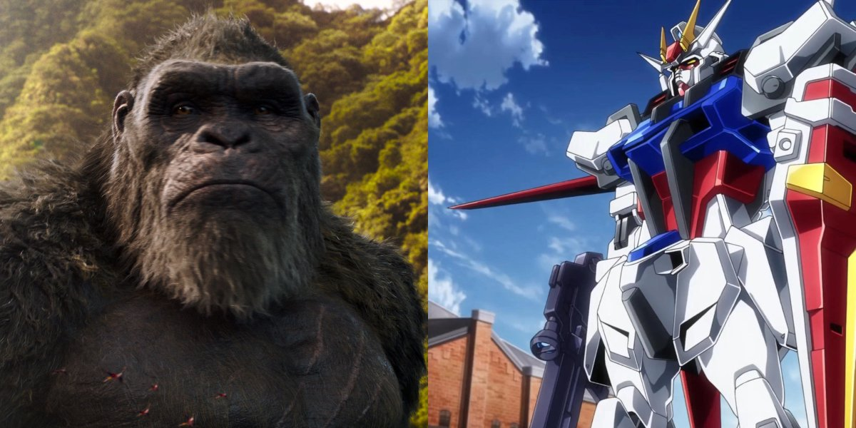 Kong and a Gundam suit, pictured side by side