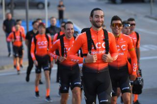 Guillaume Van Keirsbulck shares a joke with CCC Team leader Greg Van Avermaet at their 2020 training camp