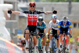 HAMOIR BELGIUM JUNE 12 Caleb Ewan of Australia and Team Lotto Soudal celebrates at arrival during the 90th Baloise Belgium Tour 2021 Stage 4 a 1527km stage from Hamoir to Hamoir baloisebelgiumtour on June 12 2021 in Hamoir Belgium Photo by Bas CzerwinskiGetty Images