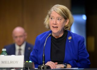 Former astronaut Pam Melroy appears before the Senate Committee on Commerce, Science, and Transportation, Thursday, May 20, 2021, at the Hart Senate Office Building in Washington. The Senate confirmed Melroy as NASA deputy administrator on June 17, 2021.