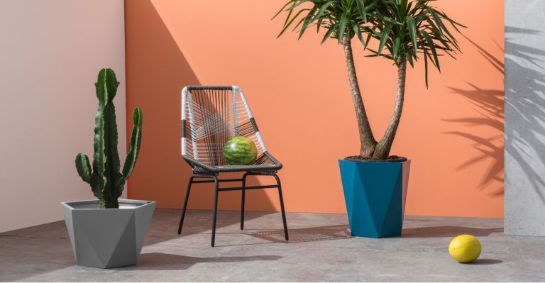 The best outdoor plant pots: made.com plant pot in contemporary garden