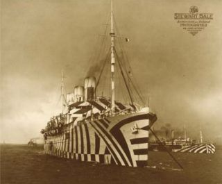 "WWI troopship, SS Empress of Russia, painted in ""dazzle"" camouflage markings."