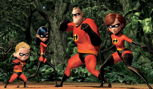 The Incredibles family fighting together in The Incredibles