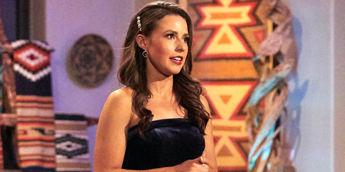 The Bachelorette Katie Thurston talks at a rose ceremony