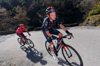 BLAUSASC FRANCE FEBRUARY 21 Tao Geoghegan Hart of United Kingdom and Team INEOS Grenadiers Julien El Fares of France and Team EF Education Nippo during the 53rd Tour Des Alpes Maritimes Et Du Var Stage 3 a 1347km stage from Blausasc to Blausasc letour0683 on February 21 2021 in Blausasc France Photo by Luc ClaessenGetty Images