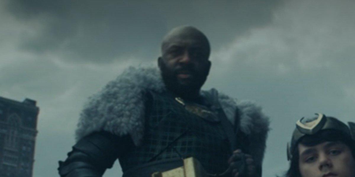 boastful loki with thor's hammer