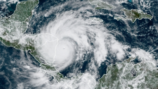 A satellite image of Hurricane Iota taken on November 16