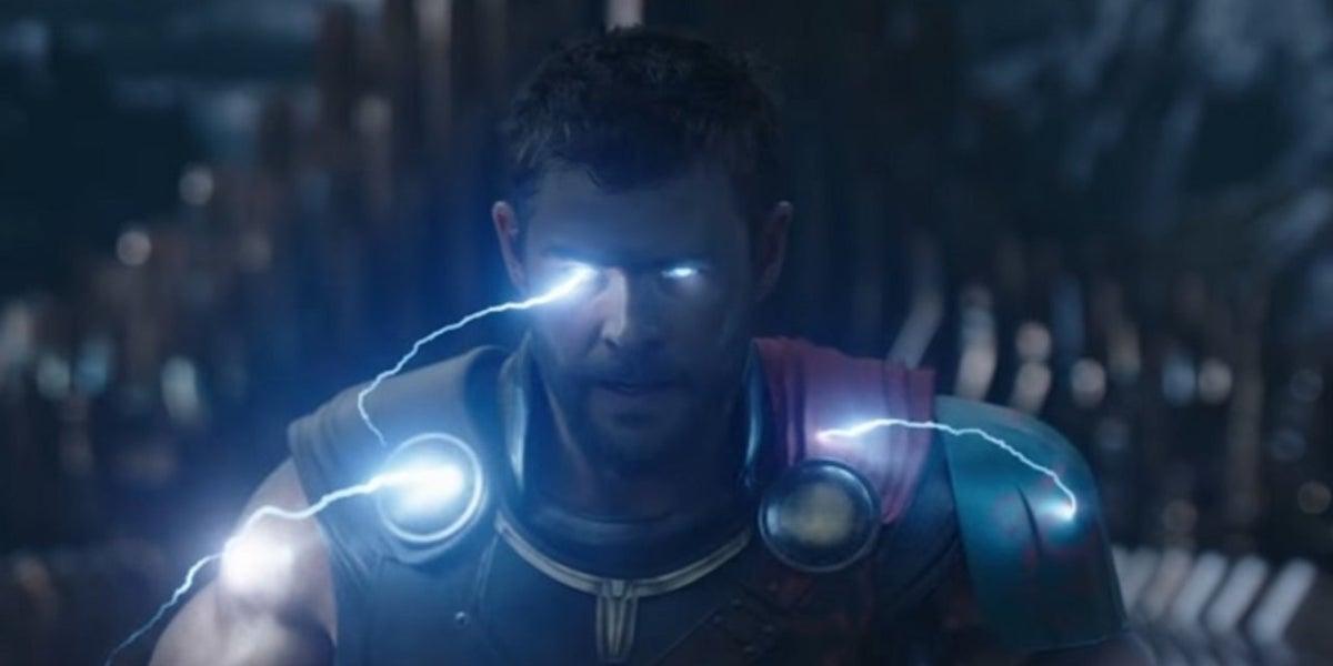 Chris Hemsworth as Thor using thunder powers in Thor: Ragnarok