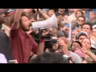 With no stage power, Zack de la Rocha improvises with a megaphone