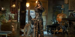 Halle Berry with gun and dogs in John Wick Chapter 3 Parabellum