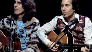 Paul SIMON and George HARRISON; with Paul Simon, performing on Saturday Night Live in 1976