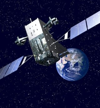 An artist's illustration of a the U.S. military's Space Based Infrared System missile defense satellite in orbit.