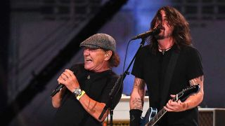 Brian Johnson and Dave Grohl onstage
