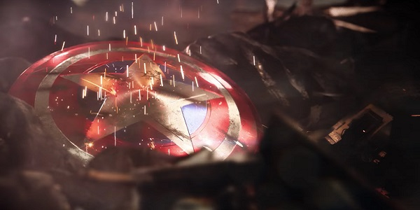 Captain America's shield, on the ground, in the upcoming Avengers game.