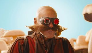 Jim Carrey looking ridiculous with goggles in Sonic.
