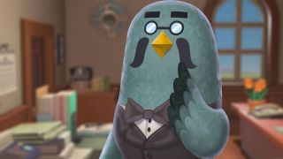Brewster the coffee-brewing pigeon in Animal Crossing