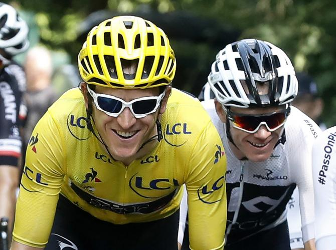 Team Sky's Geraint Thomas and Chris Froome