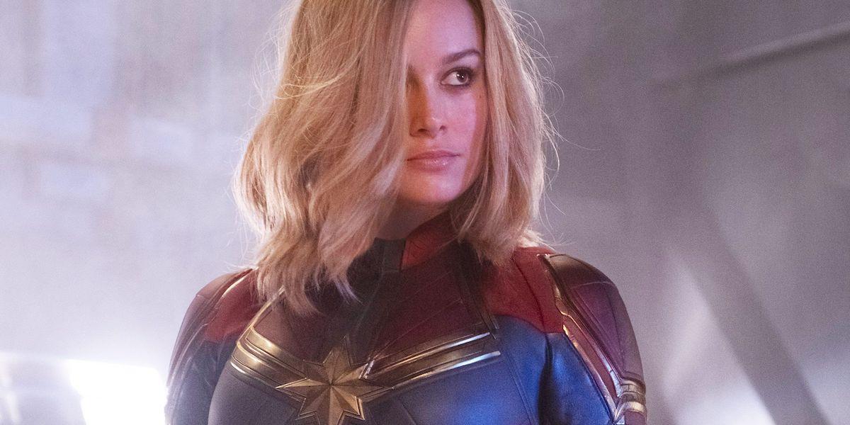 Brie Larson posing in her Captain Marvel costume in 2019 movie