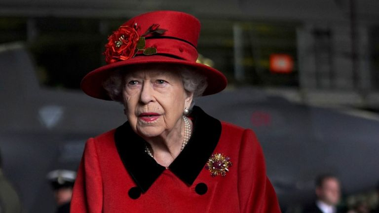 Queen Elizabeth II during a visit to HMS Queen Elizabeth at HM Naval Base ahead of the ship's maiden deployment on May 22, 2021 in Portsmouth, England
