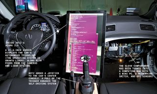 The cockpit of George Hotz self-driving Acura ILX