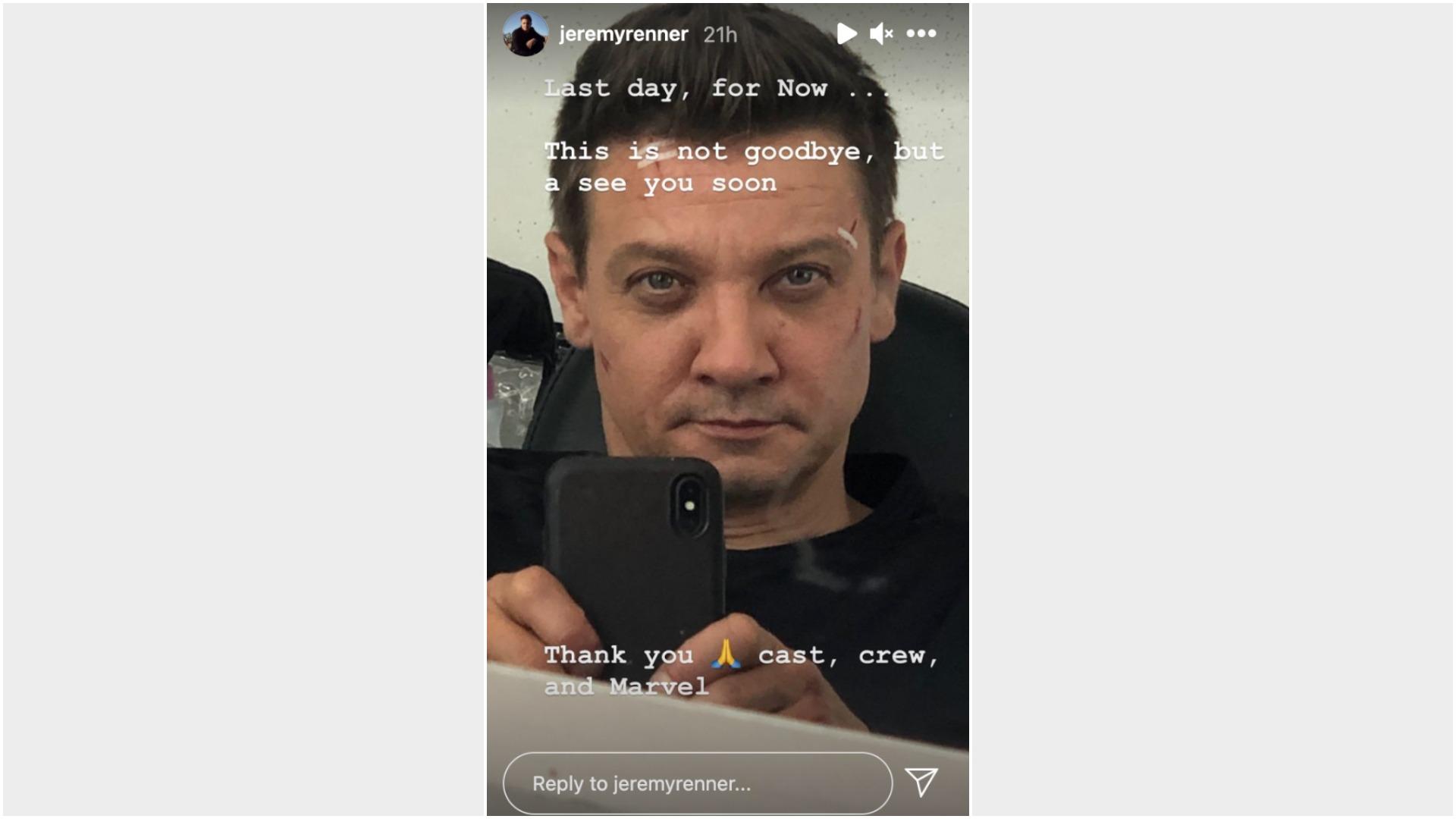 Jeremy Renner Historia de Instagram