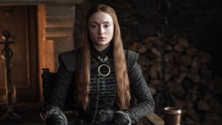 Sophie Turner as Sansa Stark, observing the Winterfell court in Game of Thrones season 7