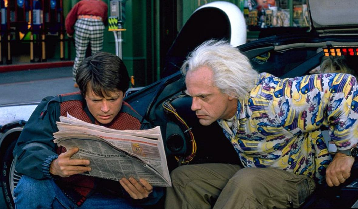 Back To The Future Part II Marty and Doc look at the future newspaper