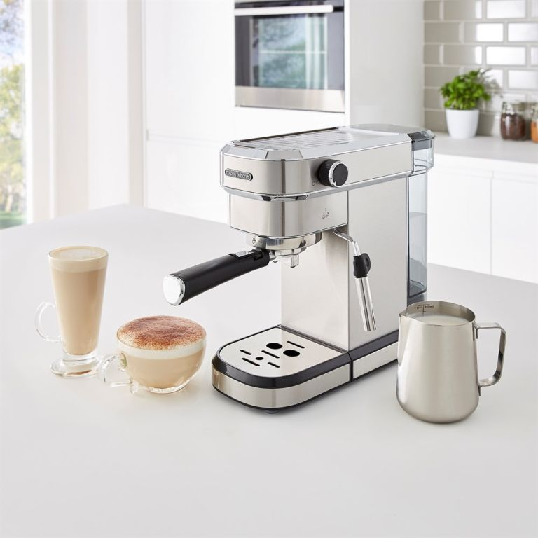The Morphy Richards New espresso machine with coffee drinks on display