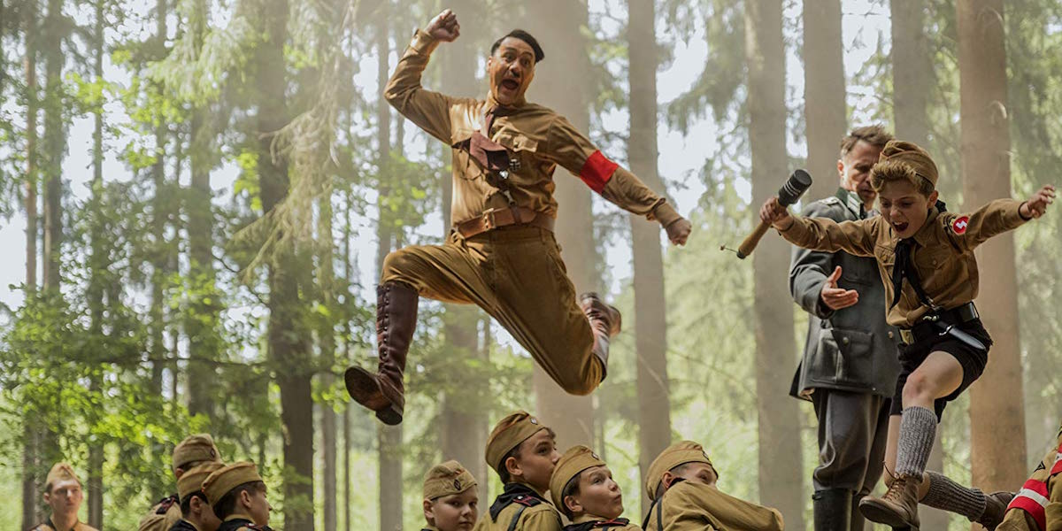 Taika Waititi leaping as Hitler in Jojo Rabbit