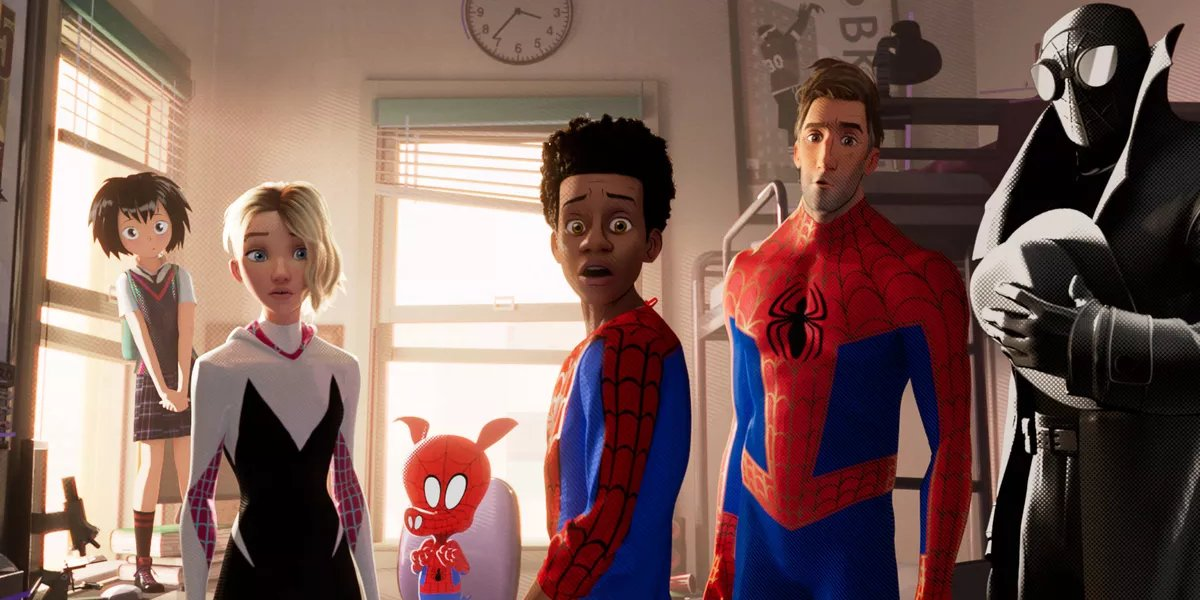 Spider-Man: Into the Spider-Verse Miles and the other Spider-Persons looking on in shock