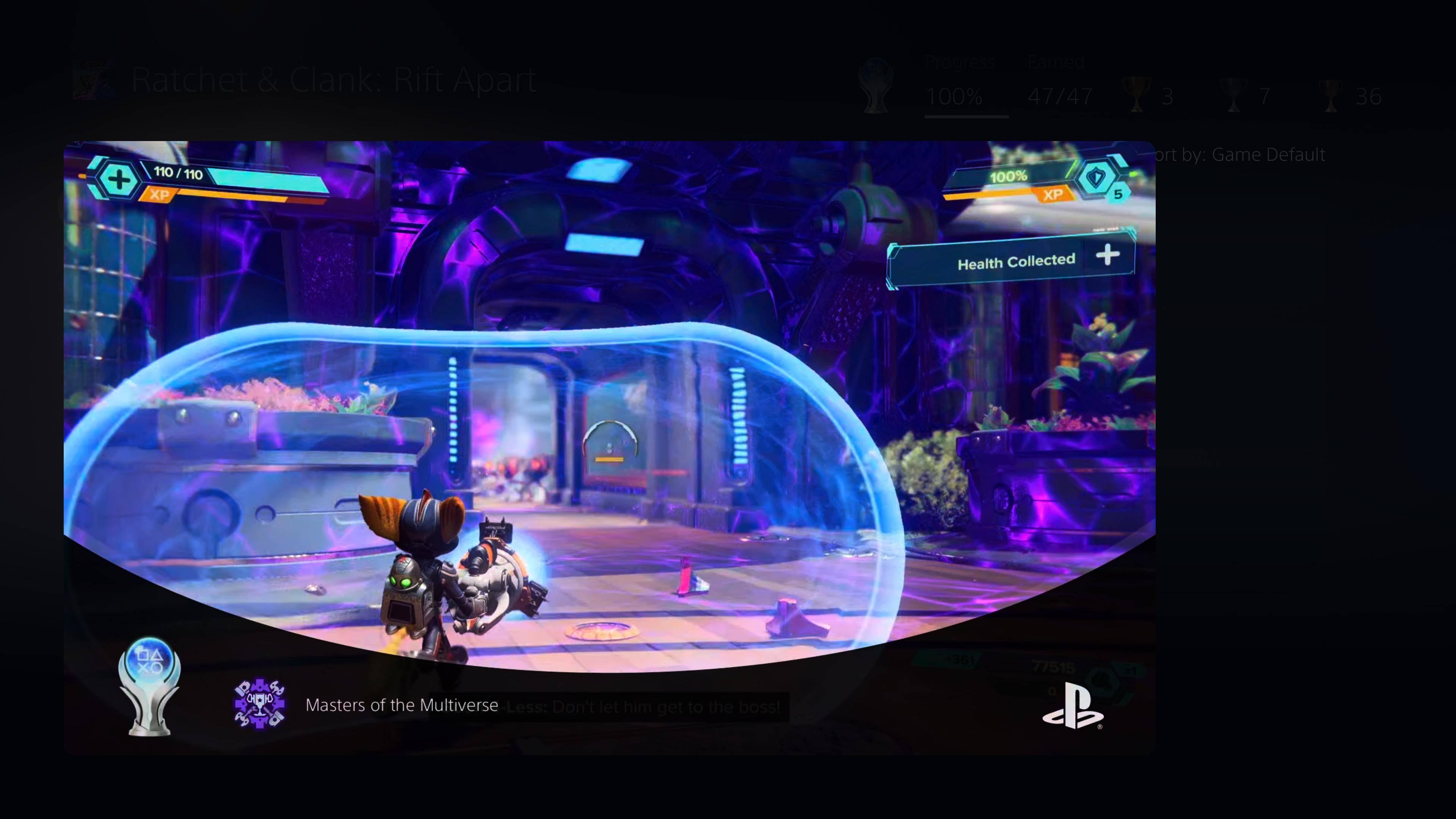 Ratchet & Clank: Rift Apart Platinum Trophy clip on PS5