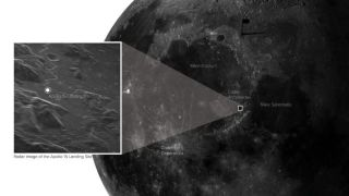 New radar image of the Apollo 15 landing site, located with respect to prominent lunar features