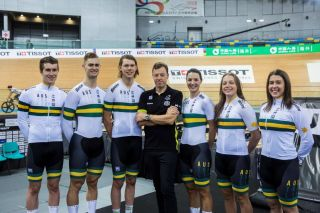 Performance director Simon Jones (centre) with members of the Australian Cycling Team