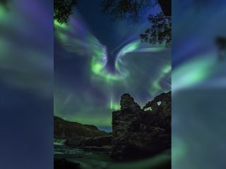 The majestic, bird-shaped aurora spreads its wings over a destroyed military hydroelectric station, located two hours away from Murmansk, Russia.