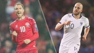 Denmark vs Finland live stream Euro 2020 — Christian Eriksen of Denmark and Teemu Pukki of Finland