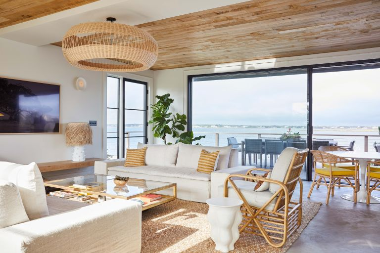 Beach House living room with large windows