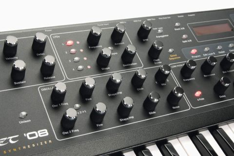 The Prophet '08's silver-topped dials are reminiscent of the Prophet 5's