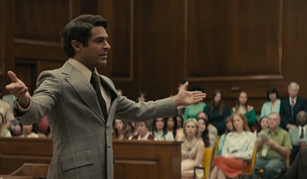 Zac Efron as Ted Bundy in court in Netflix's Extremely Wicked, Shockingly Evil and Vile